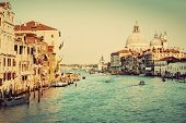 Venice, Italy. Grand Canal and Basilica Santa Maria della Salute in the afternoon. Vintage, retro style.