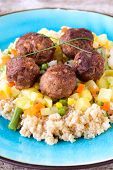 Meat Balls And Couscous With Vegetables