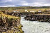 Landscape Near Godafoss Warerfall In Iceland