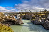 Pedestran Bridge At Godafoss In Iceland
