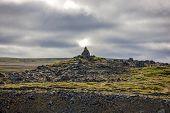 Rock Sculpture In Icelandic Landscape