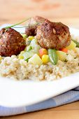 Meat Balls And Couscous In Plate
