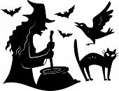 Illustration Featuring the Silhouettes of Different Halloween Characters