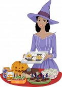 Illustration Featuring a Woman Preparing Food for a Halloween Party