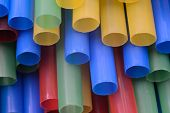 Close up of drinking straws