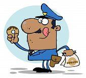 Hungry schatten schattenwurf Cop seine Lippen lecken und halten ein donut