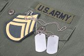 Us Army Concept - Uniform, Dog Tags And Sergeant Rank Patch