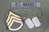 Us Marines Concept - Uniform, Dog Tags And Sergeant Rank Patch