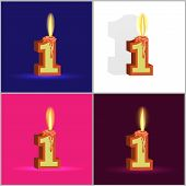 the number one in the form of a burning candle