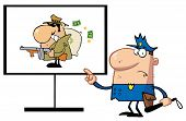 stock photo of sherif  - Police Man Pointing To A Robber Sign - JPG