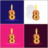 the number eight in the form of a burning candle