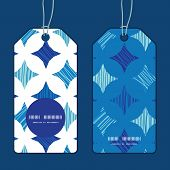 Vector blue marble tiles vertical round frame pattern tags set