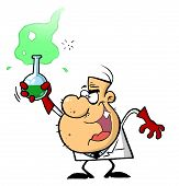 picture of mad scientist  - Mad Scientist Man Grinning And Holding A Green Laboratory Flask - JPG