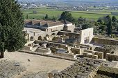 CORDOBA, SPAIN - JANUARY 4, 2013: View to the Madinat al-Zahra, the ruins of a vast, fortified Arab Muslim medieval palace-city. The 112 hectare-urb was the effective capital of al-Andalus