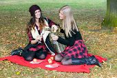 Young People Having Picnic In Park Among Autumn Leaves.