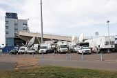 HARTFORD - OCTOBER 10: Media trucks outside Rentschler Field stadium between US Men`s National Team vs Ecuador, on October 10, 2014, in Rentschler Field stadium, Hartford, USA.