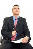 Man writes document