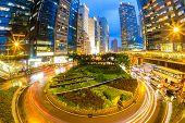Hong Kong Central Skyline at dusk (Fish Eye Perspective)