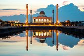 Central mosque with reflection at dusk, Songkhla, Thailand