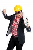 Asian Engineer Man In Bad Mood Show His  Thumb Down