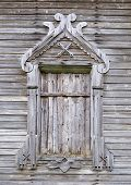 Boarded Window Of Ancient Wooden Church