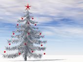 Conceptual gray or silver 3D fir tree with red glass ornaments and star on snow over blue sky backgr
