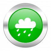 rain green circle chrome web icon isolated