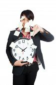 Asian Office Man Hold Clock Covered In Blank Notes  With Thumbs Down