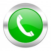 phone green circle chrome web icon isolated