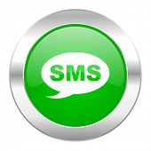 sms green circle chrome web icon isolated