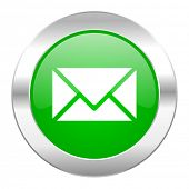 email green circle chrome web icon isolated
