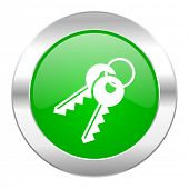 keys green circle chrome web icon isolated