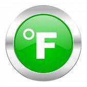 fahrenheit green circle chrome web icon isolated