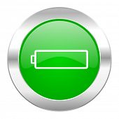 battery green circle chrome web icon isolated