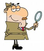 foto of cartoon people  - Happy Caucasian Cartoon Detective Man  Profession  Job - JPG