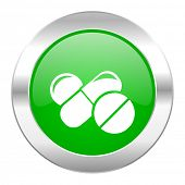 medicine green circle chrome web icon isolated