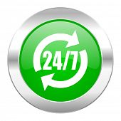 service green circle chrome web icon isolated