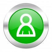 person green circle chrome web icon isolated