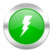 bolt green circle chrome web icon isolated