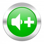 speaker volume green circle chrome web icon isolated