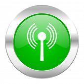 wifi green circle chrome web icon isolated