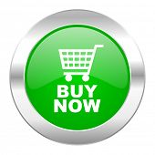 buy now green circle chrome web icon isolated