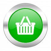 cart green circle chrome web icon isolated
