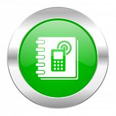 phonebook green circle chrome web icon isolated