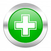 pharmacy green circle chrome web icon isolated