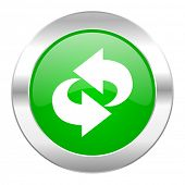 rotation green circle chrome web icon isolated