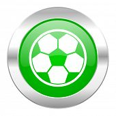 soccer green circle chrome web icon isolated