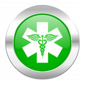 emergency green circle chrome web icon isolated