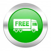 free delivery green circle chrome web icon isolated