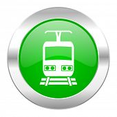train green circle chrome web icon isolated